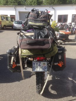 The bike of Igor Epof with a South African plate